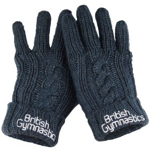 Cable Knit Melange Navy Gloves